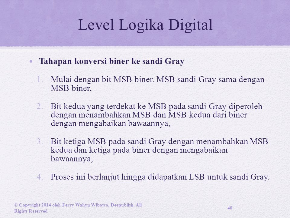 Level Logika Digital Tahapan konversi biner ke sandi Gray