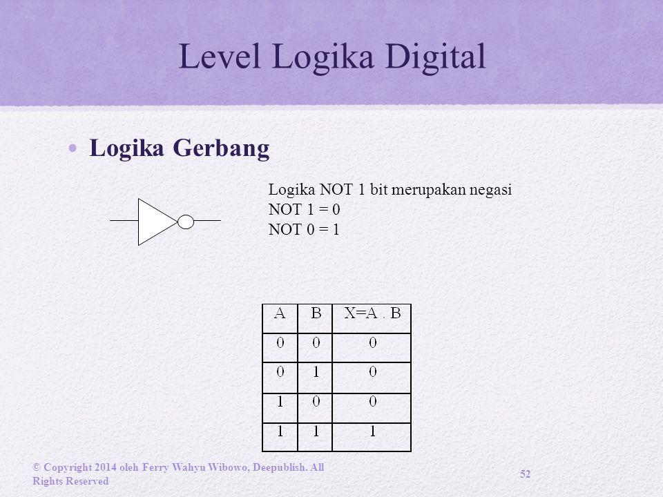Level Logika Digital Logika Gerbang Logika NOT 1 bit merupakan negasi