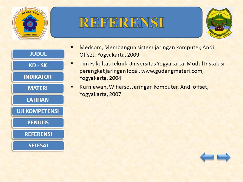 REFERENSI Medcom, Membangun sistem jaringan komputer, Andi Offset, Yogyakarta, 2009.