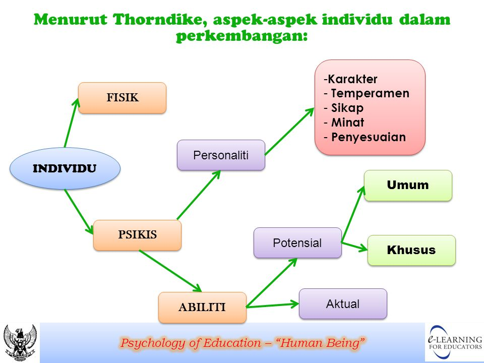 Menurut Thorndike, aspek-aspek individu dalam perkembangan: