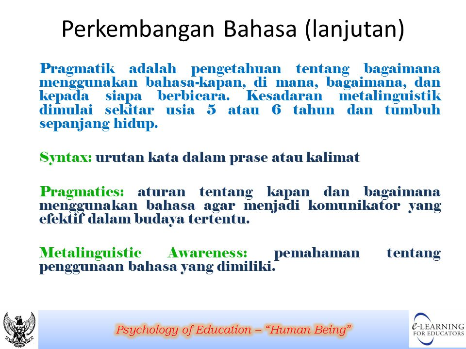 Perkembangan Bahasa (lanjutan)