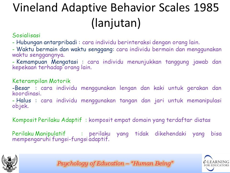 Vineland Adaptive Behavior Scales 1985 (lanjutan)
