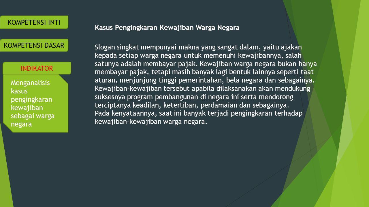KOMPETENSI INTI Kasus Pengingkaran Kewajiban Warga Negara.