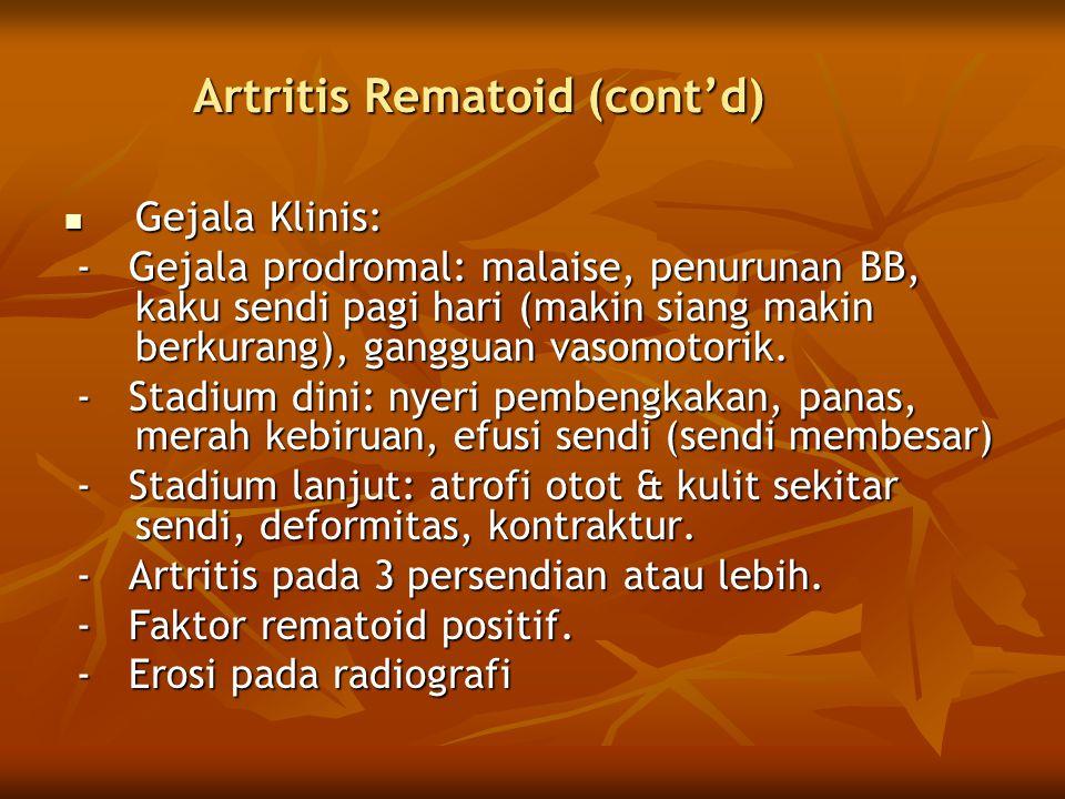 Artritis Rematoid (cont'd)