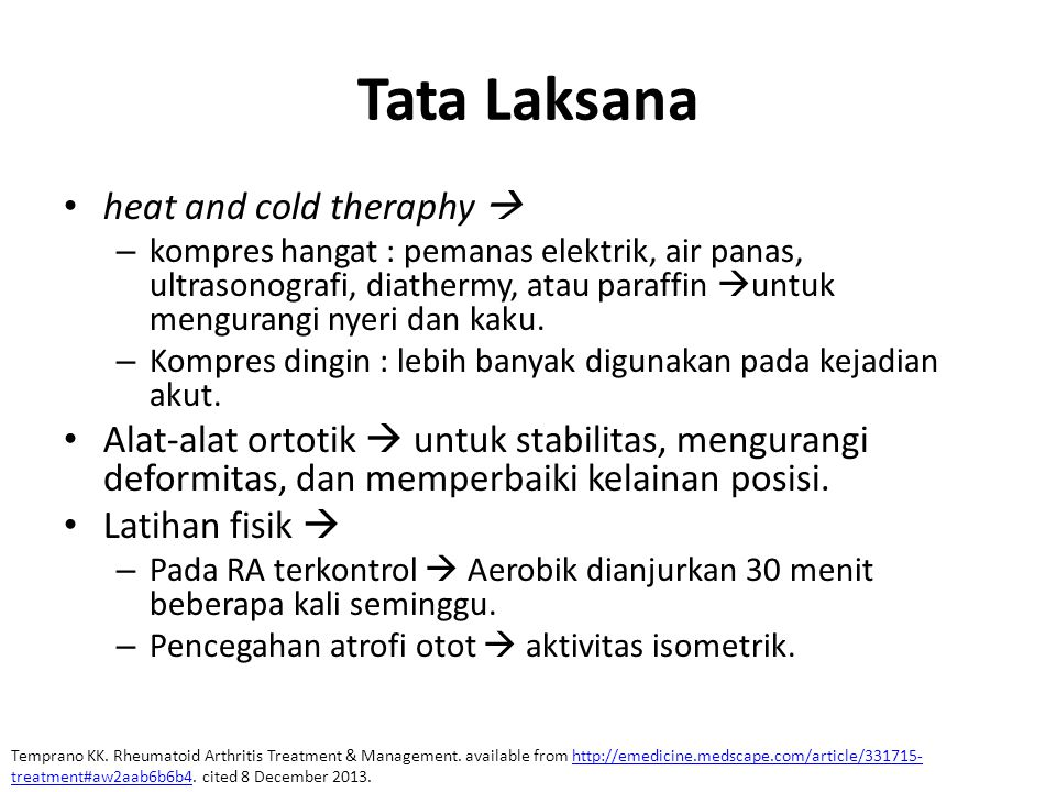 Tata Laksana heat and cold theraphy 