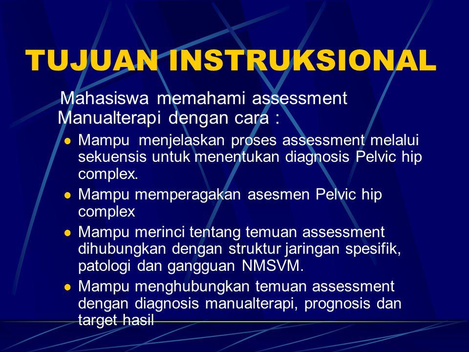 TUJUAN INSTRUKSIONAL Mahasiswa memahami assessment Manualterapi dengan cara :