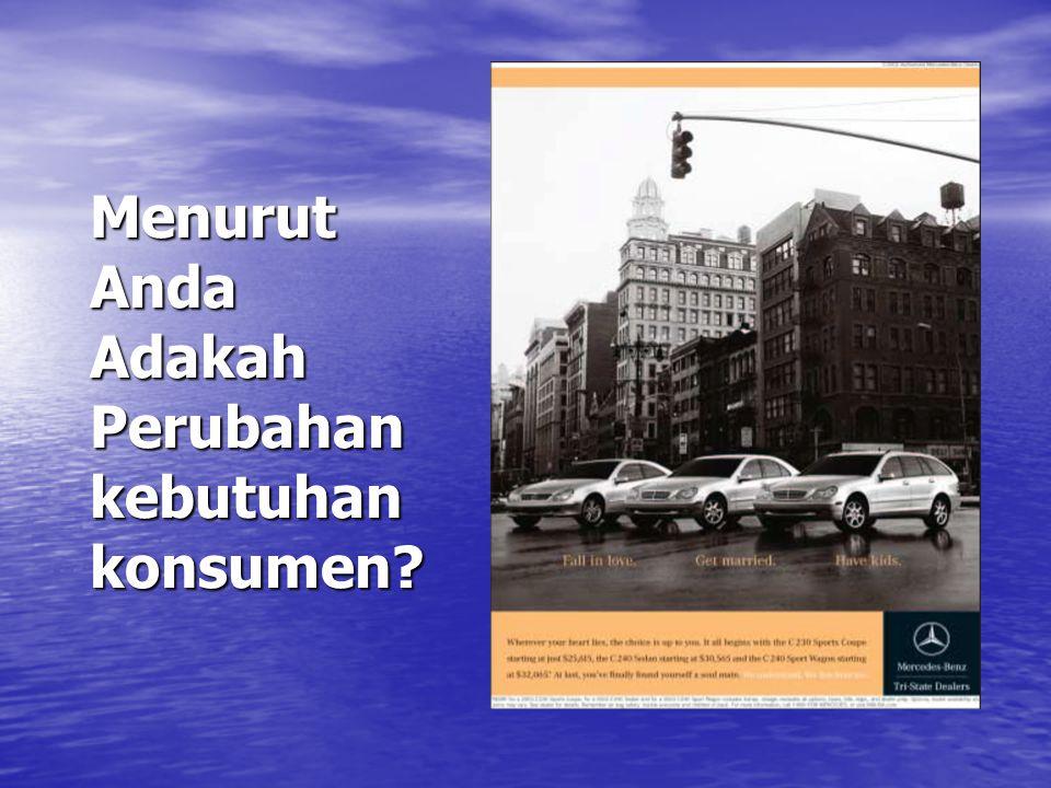 Menurut Anda Adakah Perubahan kebutuhan konsumen