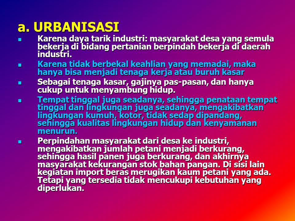 a. URBANISASI Karena daya tarik industri: masyarakat desa yang semula bekerja di bidang pertanian berpindah bekerja di daerah industri.