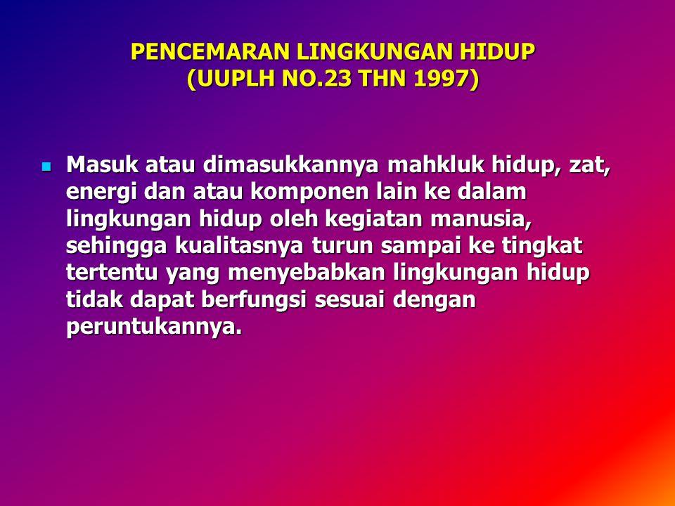 PENCEMARAN LINGKUNGAN HIDUP (UUPLH NO.23 THN 1997)