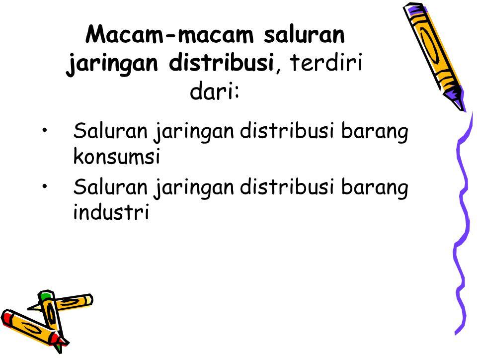 Macam-macam saluran jaringan distribusi, terdiri dari: