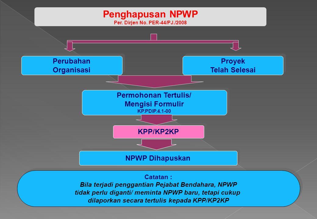 Penghapusan NPWP Perubahan Organisasi Proyek Telah Selesai