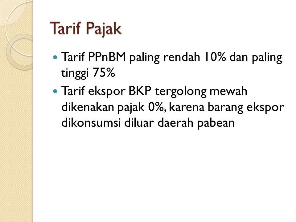 Tarif Pajak Tarif PPnBM paling rendah 10% dan paling tinggi 75%