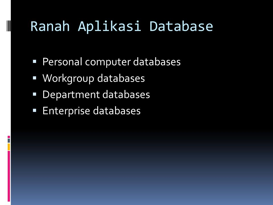 Ranah Aplikasi Database