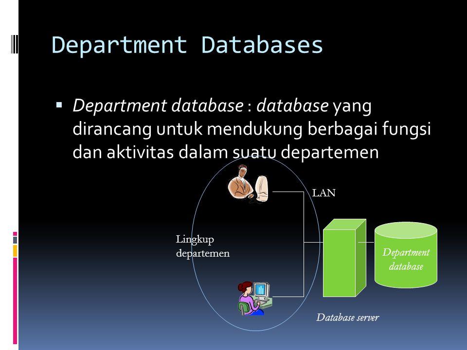Department Databases Department database : database yang dirancang untuk mendukung berbagai fungsi dan aktivitas dalam suatu departemen.