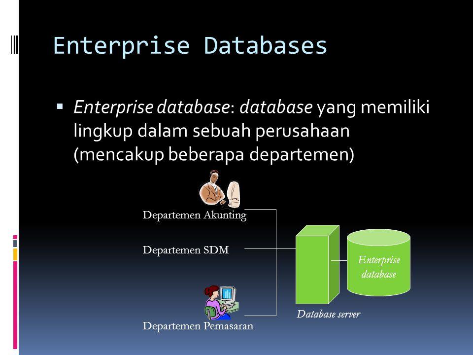 Enterprise Databases Enterprise database: database yang memiliki lingkup dalam sebuah perusahaan (mencakup beberapa departemen)
