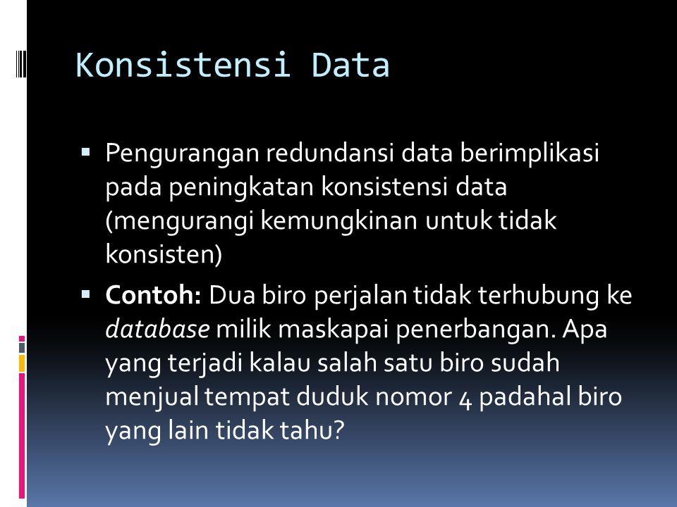 Konsistensi Data Pengurangan redundansi data berimplikasi pada peningkatan konsistensi data (mengurangi kemungkinan untuk tidak konsisten)