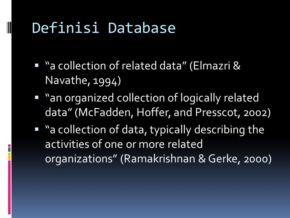 Definisi Database a collection of related data (Elmazri & Navathe, 1994)