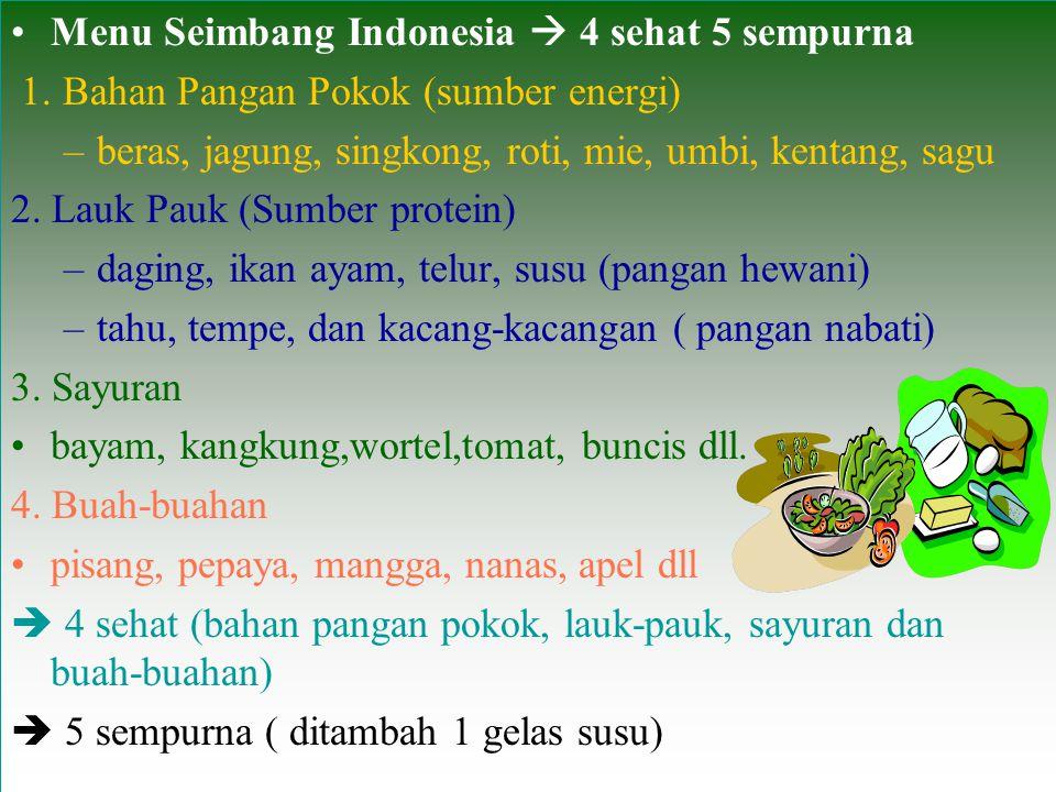 Menu Seimbang Indonesia  4 sehat 5 sempurna