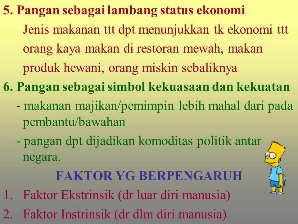 5. Pangan sebagai lambang status ekonomi