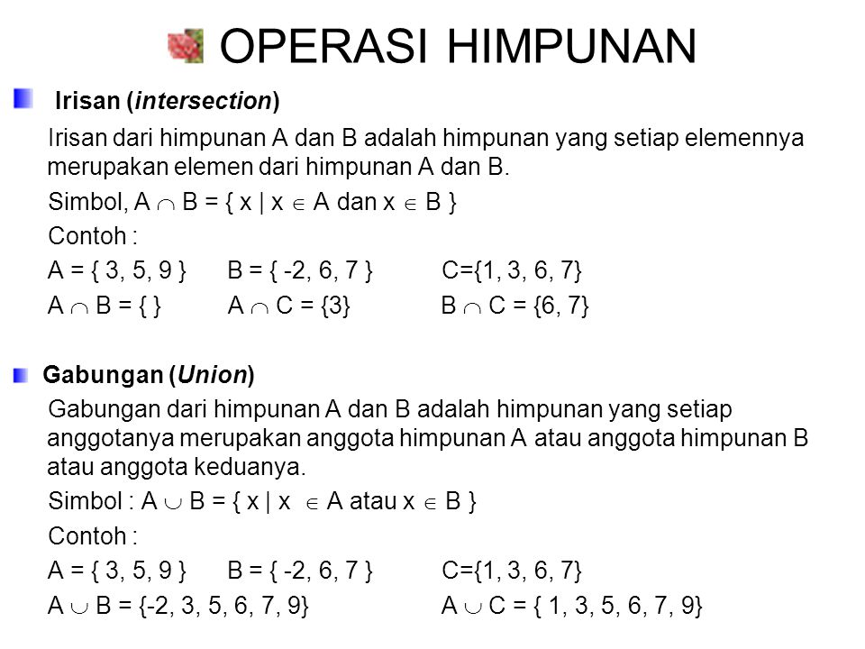 OPERASI HIMPUNAN Irisan (intersection)