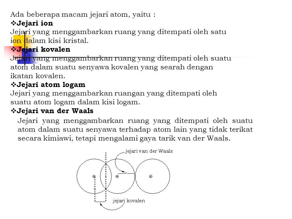Ada beberapa macam jejari atom, yaitu :