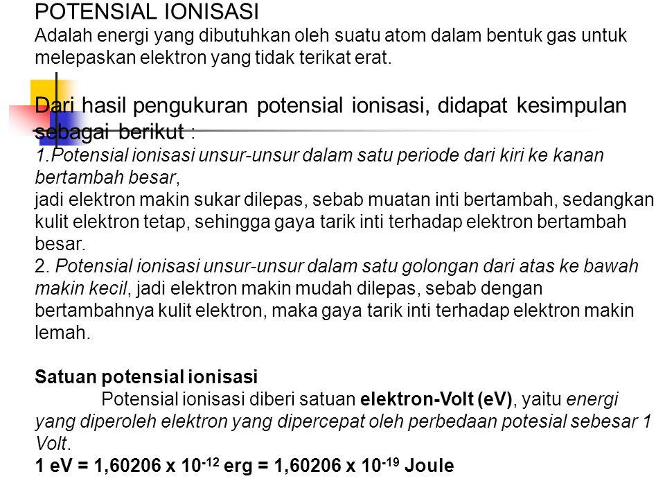 POTENSIAL IONISASI Adalah energi yang dibutuhkan oleh suatu atom dalam bentuk gas untuk melepaskan elektron yang tidak terikat erat.