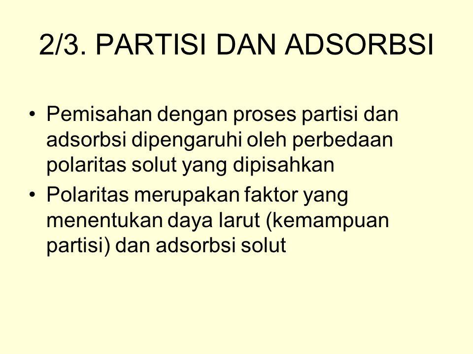 2/3. PARTISI DAN ADSORBSI Pemisahan dengan proses partisi dan adsorbsi dipengaruhi oleh perbedaan polaritas solut yang dipisahkan.