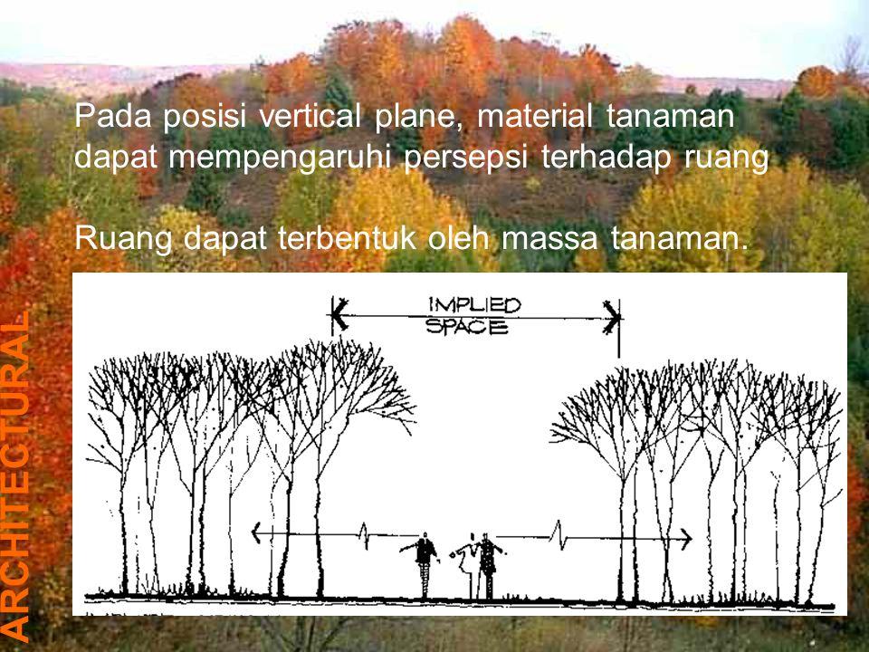 Pada posisi vertical plane, material tanaman dapat mempengaruhi persepsi terhadap ruang
