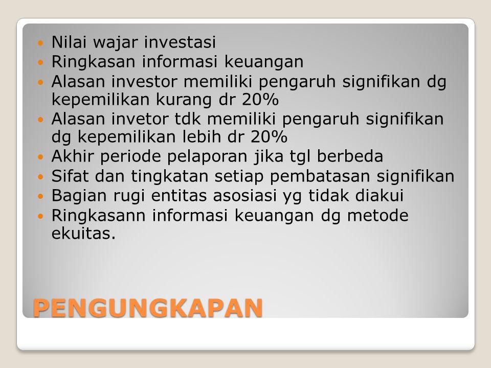 PENGUNGKAPAN Nilai wajar investasi Ringkasan informasi keuangan