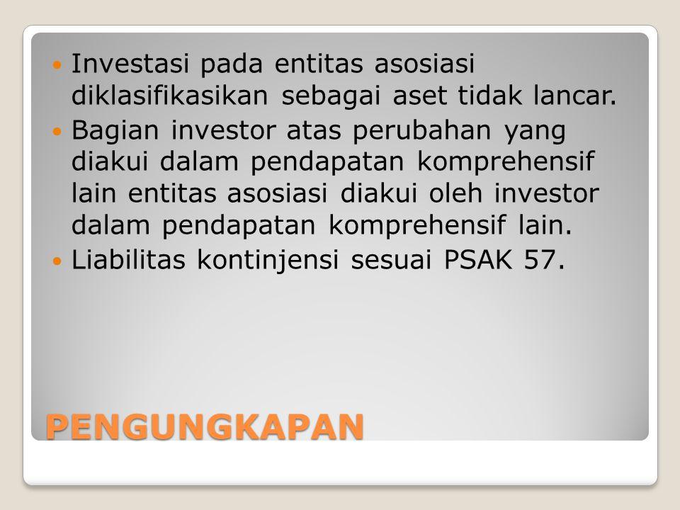 Investasi pada entitas asosiasi diklasifikasikan sebagai aset tidak lancar.