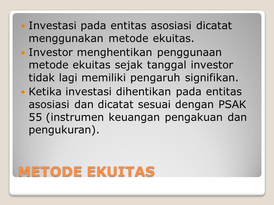 Investasi pada entitas asosiasi dicatat menggunakan metode ekuitas.
