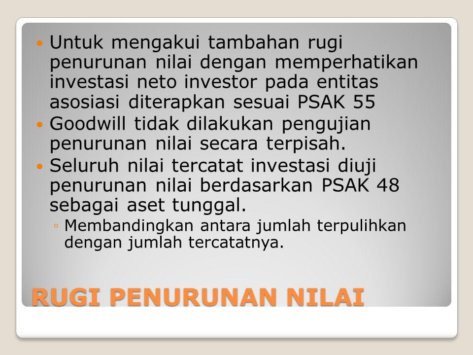 Untuk mengakui tambahan rugi penurunan nilai dengan memperhatikan investasi neto investor pada entitas asosiasi diterapkan sesuai PSAK 55