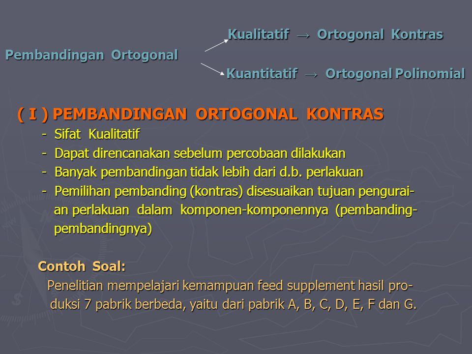 Kualitatif → Ortogonal Kontras