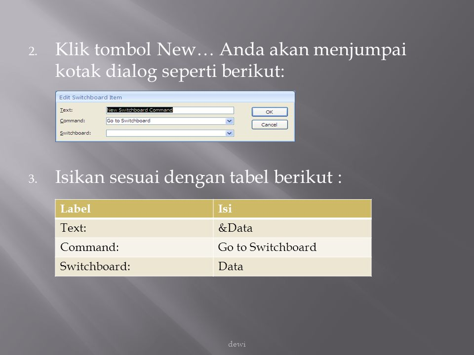 Klik tombol New… Anda akan menjumpai kotak dialog seperti berikut: