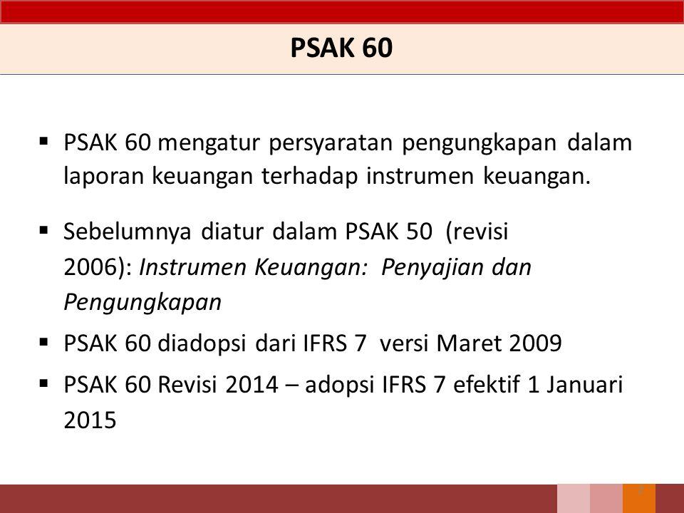 PSAK 60 PSAK 60 mengatur persyaratan pengungkapan dalam laporan keuangan terhadap instrumen keuangan.