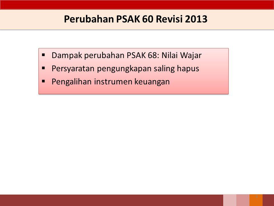Perubahan PSAK 60 Revisi 2013 Dampak perubahan PSAK 68: Nilai Wajar