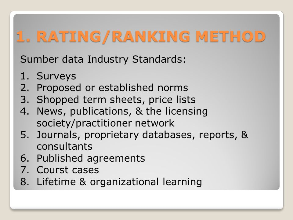 1. RATING/RANKING METHOD