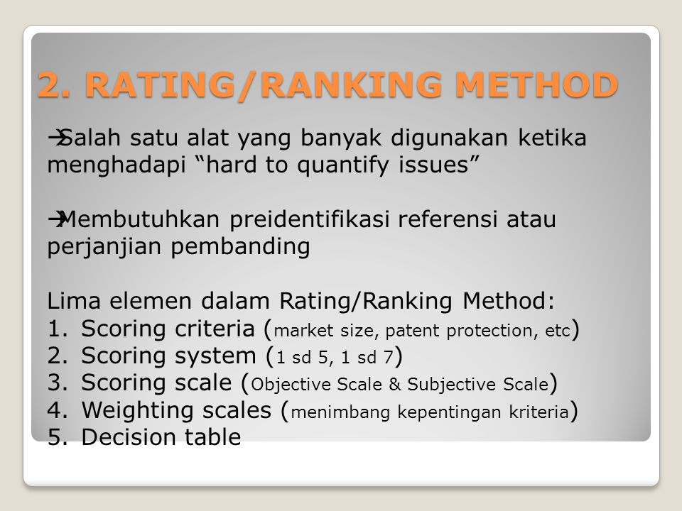 2. RATING/RANKING METHOD