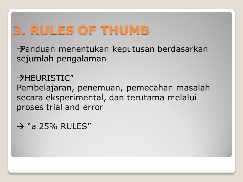3. RULES OF THUMB Panduan menentukan keputusan berdasarkan sejumlah pengalaman. HEURISTIC
