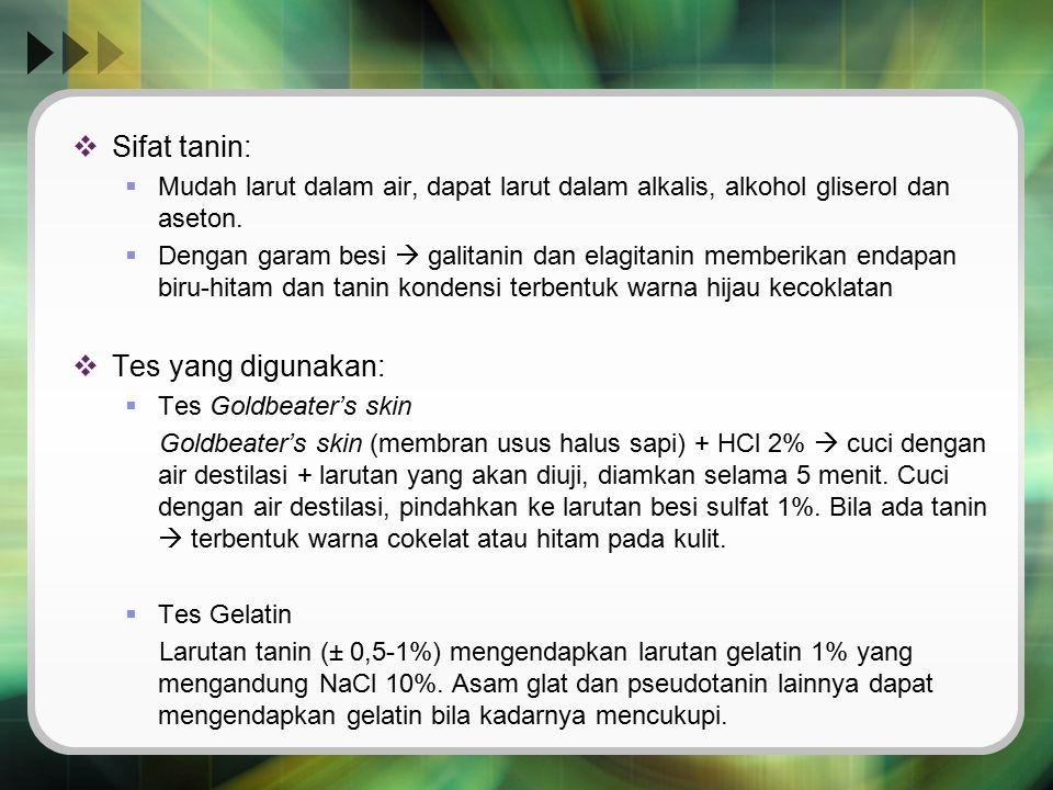 Sifat tanin: Tes yang digunakan:
