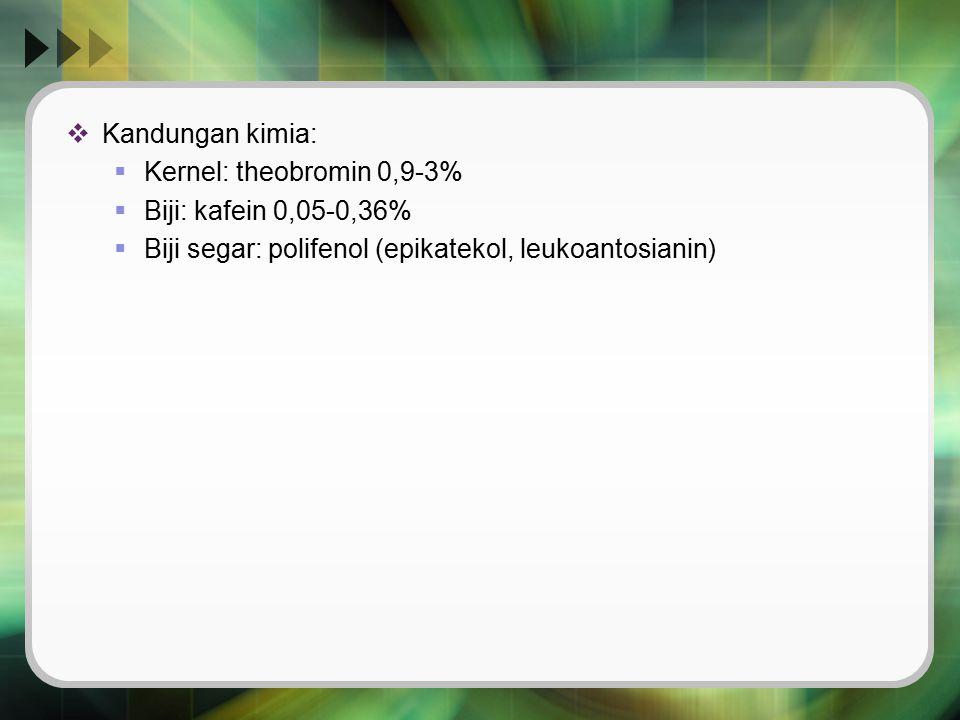 Kandungan kimia: Kernel: theobromin 0,9-3% Biji: kafein 0,05-0,36% Biji segar: polifenol (epikatekol, leukoantosianin)