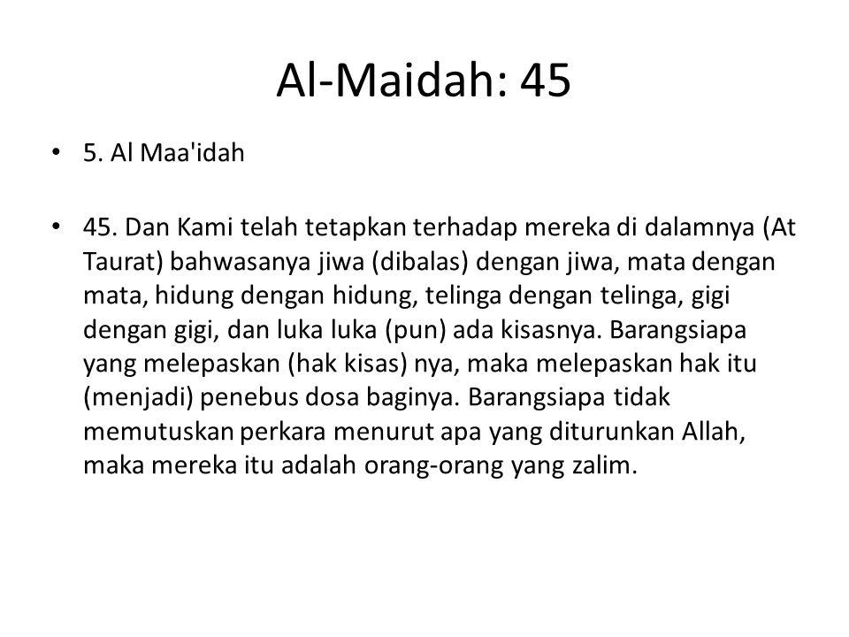 Al-Maidah: 45 5. Al Maa idah.