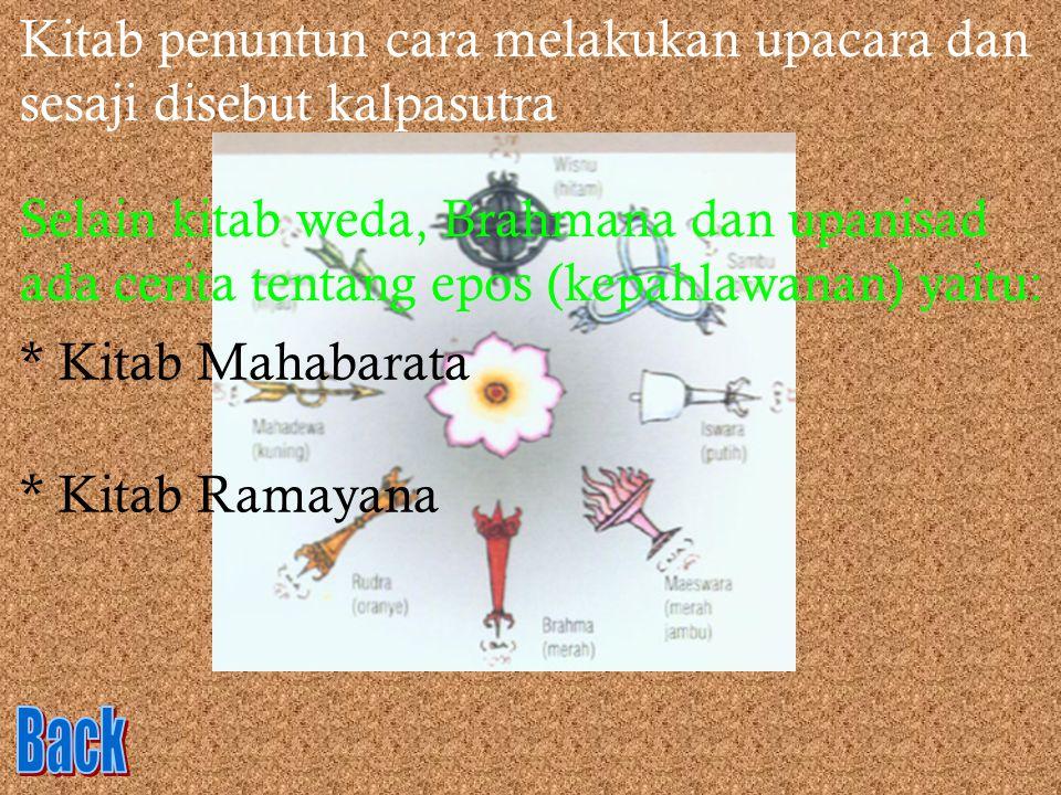 Kitab penuntun cara melakukan upacara dan sesaji disebut kalpasutra