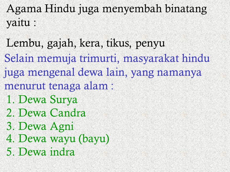 Agama Hindu juga menyembah binatang yaitu :