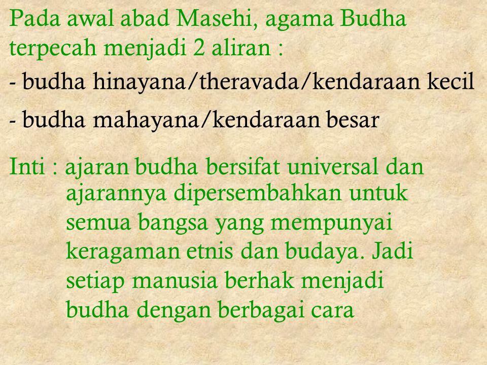 Pada awal abad Masehi, agama Budha terpecah menjadi 2 aliran :