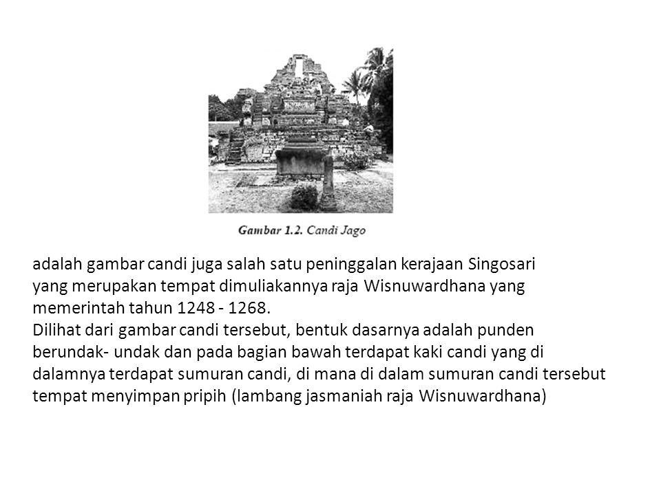 adalah gambar candi juga salah satu peninggalan kerajaan Singosari yang merupakan tempat dimuliakannya raja Wisnuwardhana yang memerintah tahun 1248 - 1268.