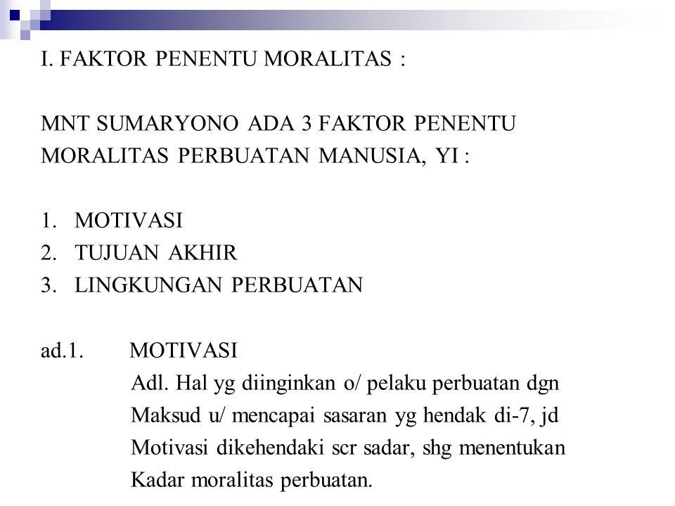 I. FAKTOR PENENTU MORALITAS :