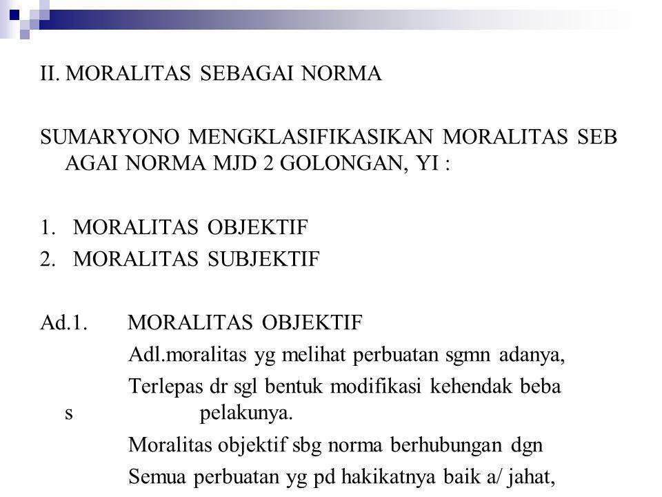 II. MORALITAS SEBAGAI NORMA