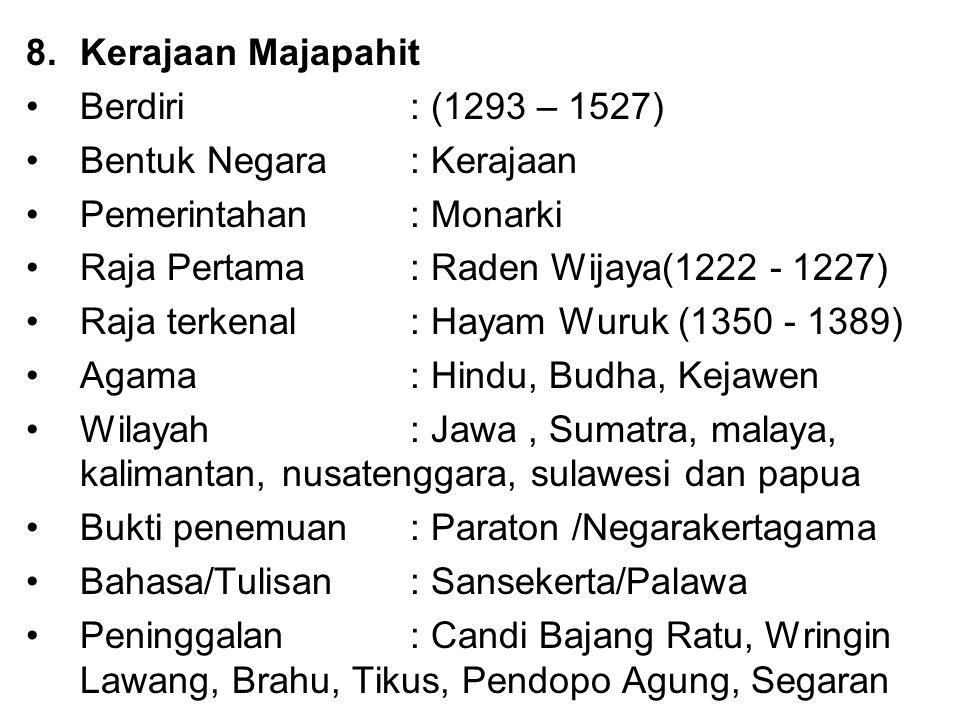 Kerajaan Majapahit Berdiri : (1293 – 1527) Bentuk Negara : Kerajaan. Pemerintahan : Monarki. Raja Pertama : Raden Wijaya(1222 - 1227)