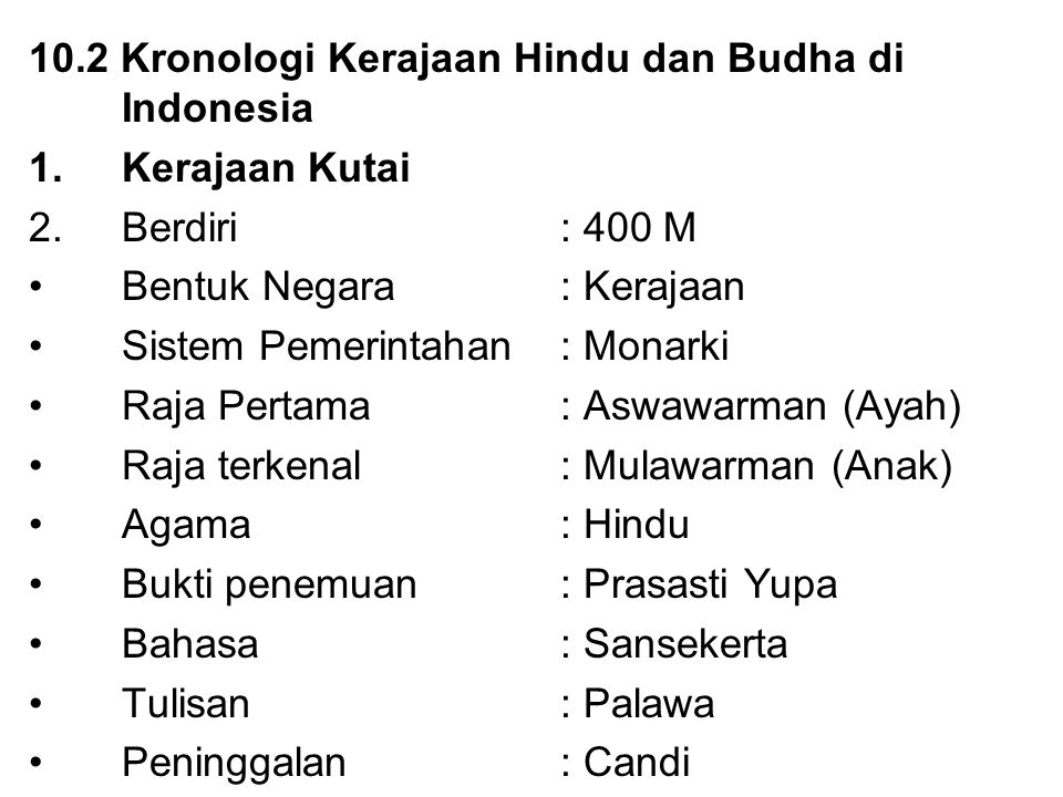 10.2 Kronologi Kerajaan Hindu dan Budha di Indonesia